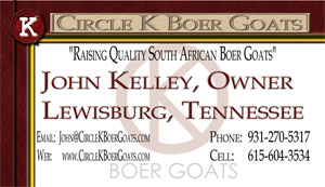 Circle K Boer Goats Business Card