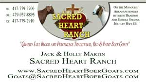 Sacred Heart Boer Goats Business Card